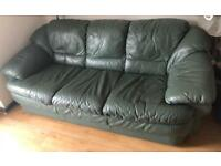 Green Leather sofa and 2 arm chairs good condition