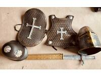 Kids knights armour, sword and helmet