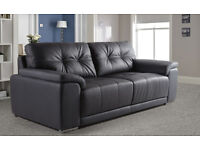 New!! 3 seater black leather sofa.