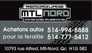 **ACHETONS AUTOS POUR FERRAILLE/WE BUY CARS FOR SCRAP **