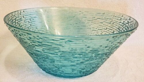 Vintage MCM, Anchor Hocking Soreno Aquamarine, Large Glass Bowl, Turquoise, Aqua