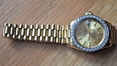 18k Y Gold Rolex Oyster Perpetual Datejust Diamonds Women Lady Wrist Watch