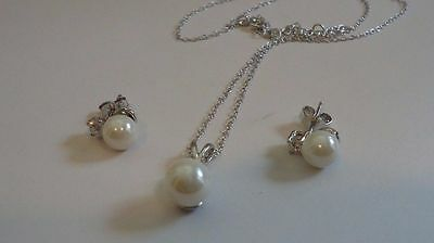 925 STERLING SILVER HANGING PEARL PENDANT NECKLACE & EARRINGS SET W/ ACCENTS - Pearls Pendant Necklace Earrings