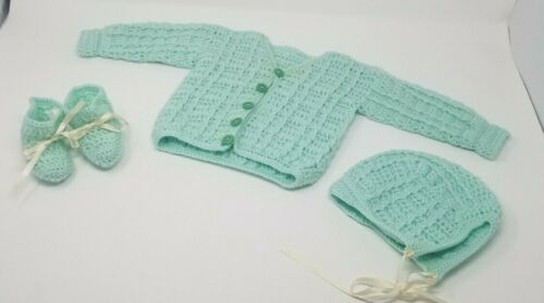 Vintage Knit Crochet Baby button up Sweater with Booties and hat Unisex green