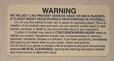 Football Helmet Warning Sticker/Decal - Black Letters on White - 5, 10, or 20