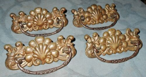 Set of  4  Antique  Stamped Metal  Drawer Pulls