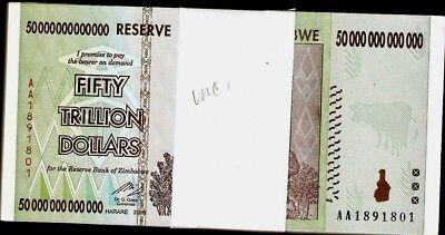 Zimbabwe 50 Trillion Dollars Series x 100 PCS AA/2008 UNC Bundle Pack +PMG66 P65