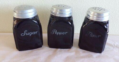 Vintage McKee Black Glass Flour Sugar & Pepper Shaker Roman Arch 3 3/8 Tall