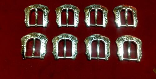 """Leather Hardware - LOT Of 8 Floral Silver Plated Heel Bar Buckles -  1"""""""
