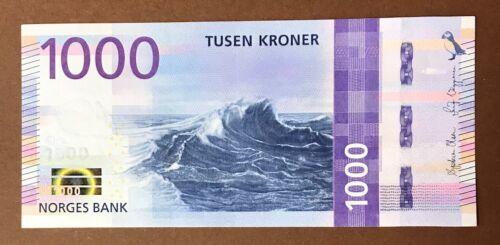NORWAY 1000 Kroner 2019 wave in the open sea  P-NEW UNC Banknote