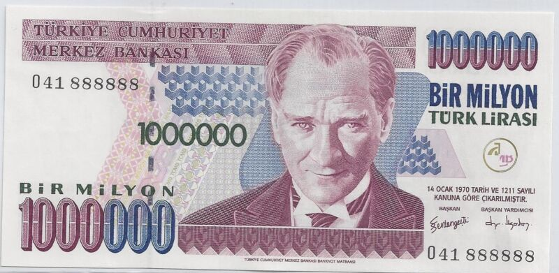 TURKEY 1000000 LIRA FANCY SOLID SERIAL # 888888 RARE NOTE LUCKY NUMBERS 8