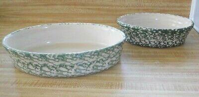Set of 2 Workshops of Gerald Henn Green spongeware oval serving bowls