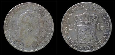 Netherland  Wilhelmina I 2 1/2 gulden(rijksdaalder)1930