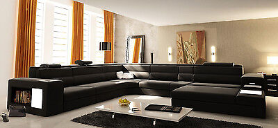 (All Black Italian Leather Polaris Sectional Sofa 5022 with Lights and Ottoman)