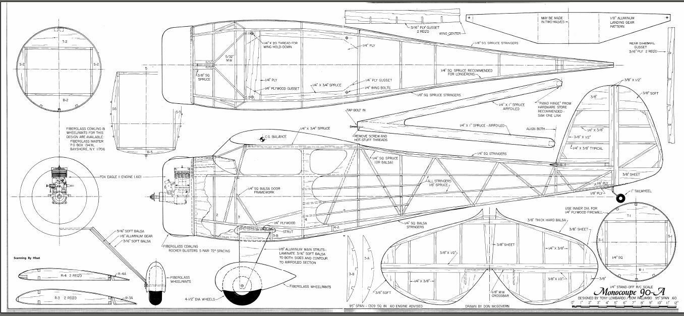 1  4 scale monocoupe 90 a 95 inch wing giant scale rc