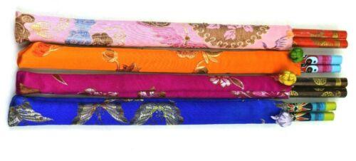 Vintage Asian Design Colorful Chopsticks With Multi-Color Silk cases, 4 Sets New