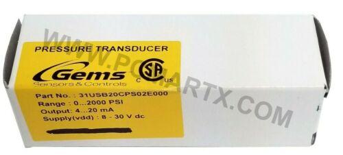 GEMS PRESSURE TRANSDUCER 0-2000PSIG 4-20MA 31USB20CPG02E000