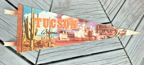 "Vintage 25"" Tucson Arizona Pennant Stagecoach & Cactus Bright Color Rare"