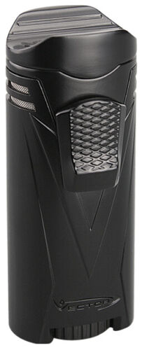 Black Matte Vector Ironquad Quad Flame Jet Torch Cigar Butane Lighter - 9310