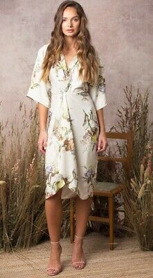 Asos Hope And Ivy - Twist Kimono Dress In Floral Print Size 16