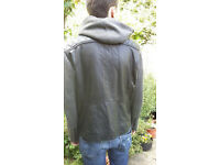 River Island men's leather jacket with hood