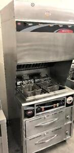 Ventless hood with built in deep fryers and warming cabinets below - extremely rare use item - waranty - LIKE NEW