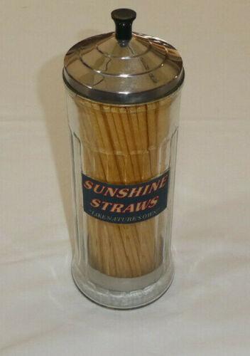 """Vintage Sunshine Straws Holder """"Like Nature's Own"""" Glass Dispenser Insert Paper"""