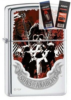 Zippo 4793 Sons Of Anarchy Lighter With  Flint   Wick Gift Set