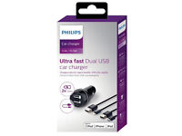 New, Philips Car Charger, IPhone 5,6,6+,iPod,iPad etc, Dual Ultra Fast, Was £35.,Selling £19