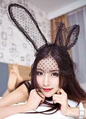 Lace Rabbit Mask (Hot Sexy lace eye mask Fancy Fashion dress up Lace up Rabbit Ears handband)