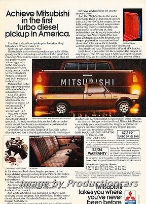 1983 Mitsubishi Diesel Pickup Truck Original Advertisement Print Art Car Ad J708