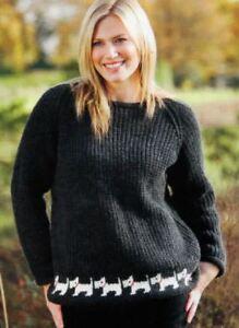 Knitting Pattern Lady's Scottie Dog Aran Ribbed Sweater  (171)