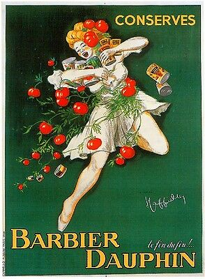 1900s French Barbier Dauphin Food & Wine Advertisement Art Poster Print