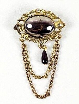 Vintage Gold Filigree Metal Brooch with Silver Stone Center, Chain Drop