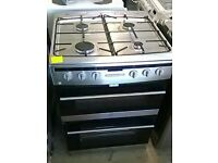 (ex display) Amica 608DGG2TSXXX 60cm Double Oven Gas Cooker With Lid - Stainless Steel