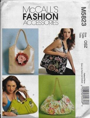 McCall's Sewing Pattern M5823 BAGS, Purses, Totes, Lined, 4 Styles