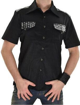 LDS SKULL BIKER GOTH ROCKER ROCKABILLY COP FETISH GOTHIC PUNK STAGE SHIRT S Casual Button-Down Shirts