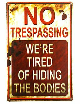 No Trespassing Funny Tin Sign Bar Cafe Diner Garage Wall Decor Retro Art Metal