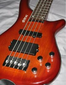 5 String bass guitar - Solid Ash body - Active pre-amp system
