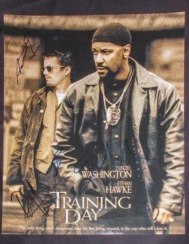 Denzel Washington Ethan Hawke Fuqua Signed TRAINING DAY 11x14 Poster PROOF COA
