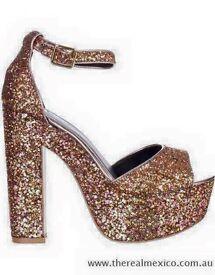River island size 5 gold glitter heels
