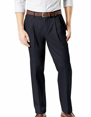 NWT DOCKERS MEN'S DARK NAVY RELAXED SIGNATURE FLEX CASUAL PANTS SIZE 32 X 34