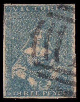 """COLONY of VICTORIA 4a (SG11b) - Queen Victoria """"1852 Pale Greenish Blue"""" (pa5133"""