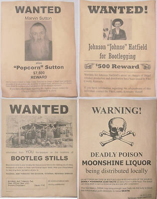 Set of 4 Moonshine Wanted Posters Popcorn Sutton, Johnse Hatfield, more