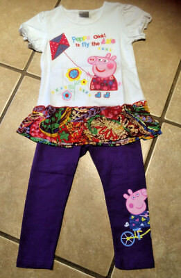 NWT Cartoon Pig Flying a Kite Flowers Tunic Top & Purple Leggings Outfit 4/5 5T](Pig Outfit)