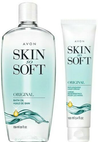 Avon Skin So Soft Bath Oil Original Scent BONUS Size 25 oz Free Hand Cream