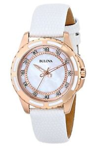 Bulova Women's Enamel Inlayed Case Watch Mother-Of-Pearl 98P119
