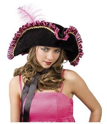 Piratenhut Fay schwarz / pink für Party, Karneval, Fasching Artikelnr. 81917