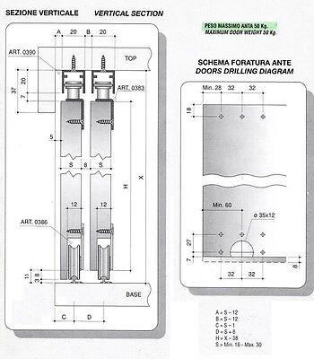 Binari ed accessori per 2 ante armadio scorrevoli cm 200 max 50 kg da AVVITARE