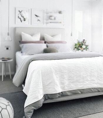 100% Leinen einfache Bettlaken 230x250 cm Weiß Flax Neu